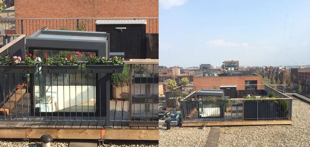 Freestanding box - glazen daktoegang op dakterras
