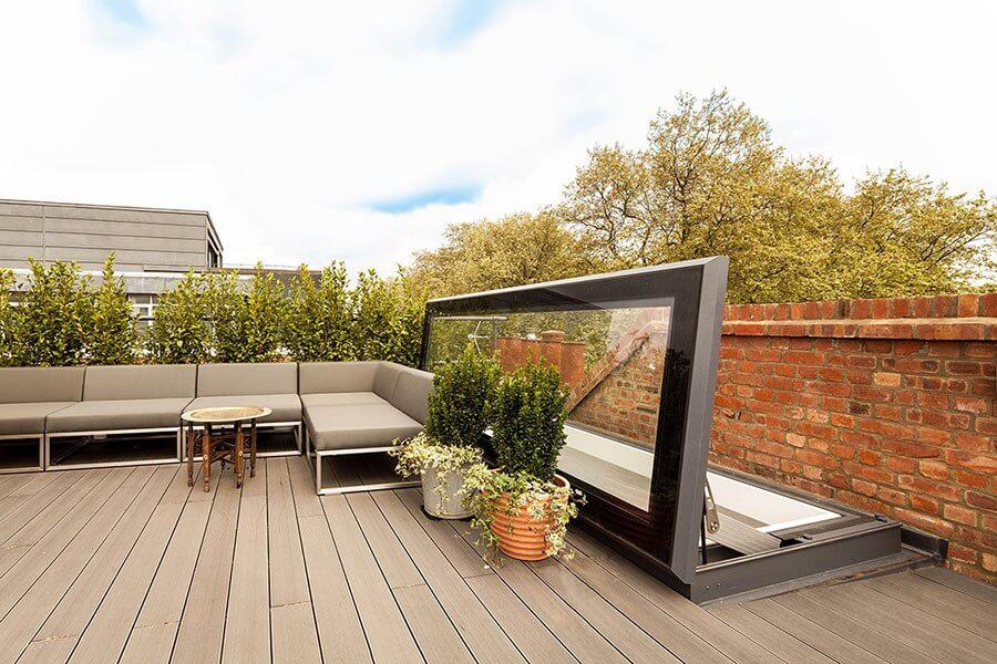 Elektrisch dakluik - Skydoor Hinged Roof access - Glazing Vision Europe