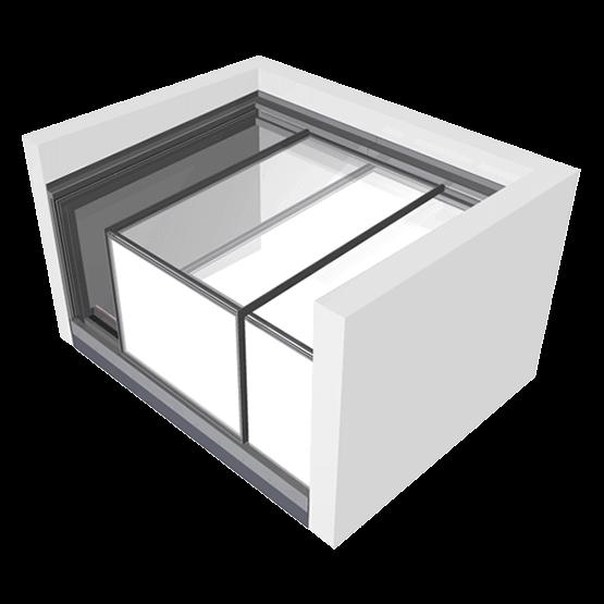 Sliding box dakterrastoegang three wall box glazing vision for Doorloophoogte trap