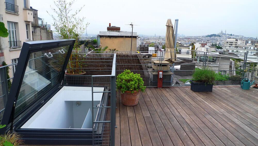 Handmatig dakluik Parijs dakterras