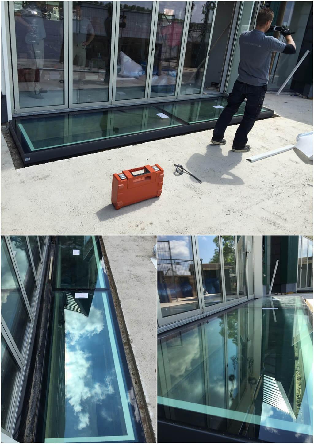 Alternatieve oplossing beloopbaar glas tegen gevel