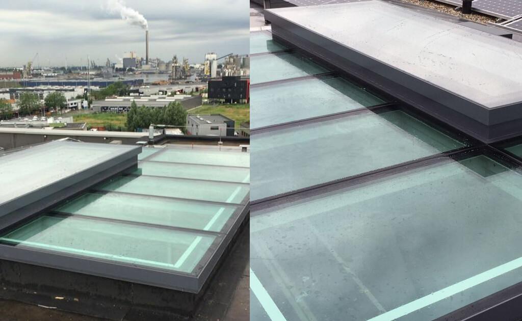 Beloopbaar glazen dak met elektrisch dakluik