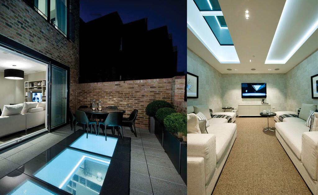Grote lichtstraat van beloopbaar glas in dakterras