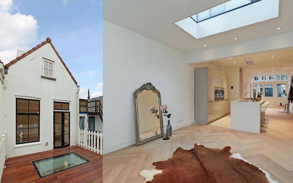 Beloopbaar glas in het dak van de uitbouw