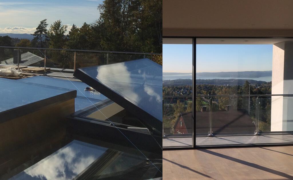 Beloopbaar glazen dak met elektrisch dakluik en prachtig uitzicht