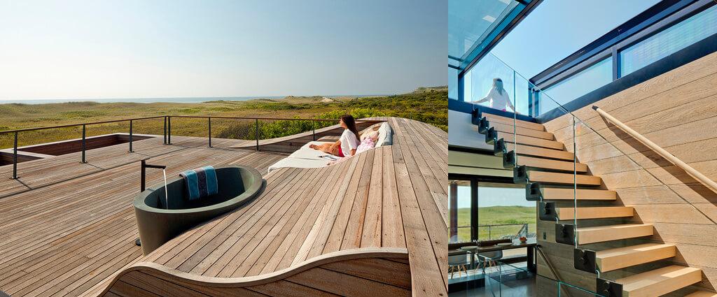 Sliding box als toegang tot dakterras van beach huis