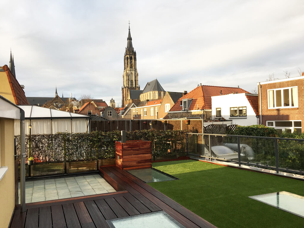 Beloopbaar glas in dakterras Delft