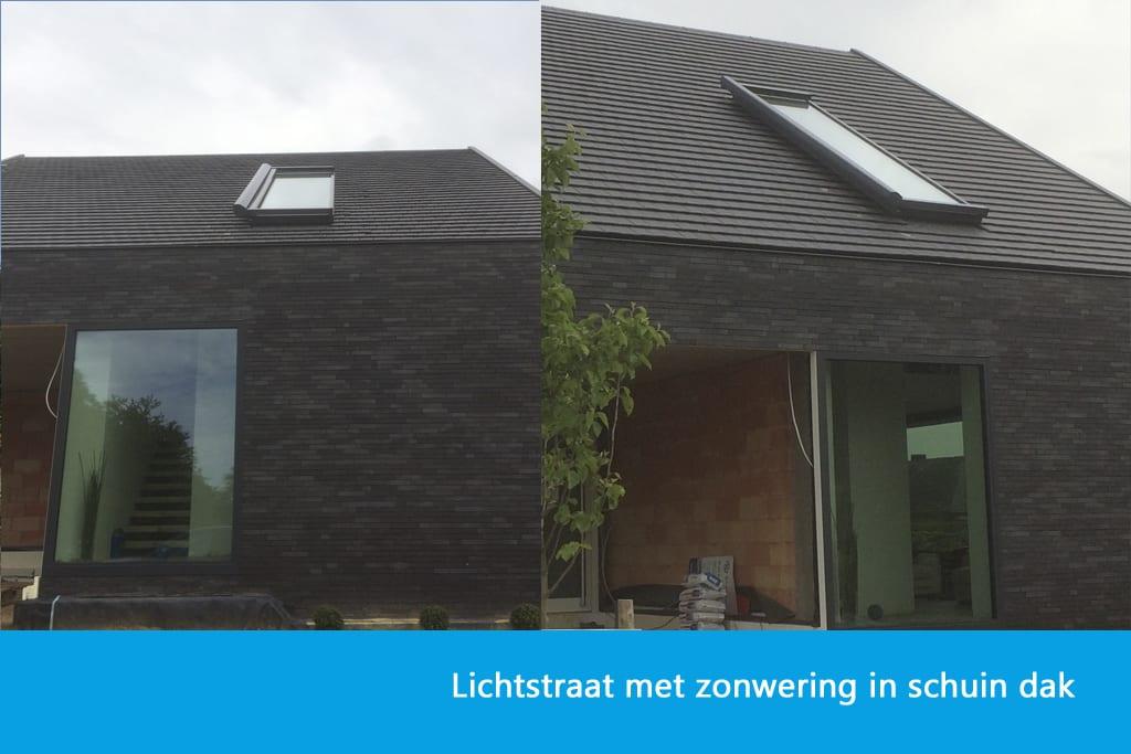 Zonwering lichtstraat schuin dak