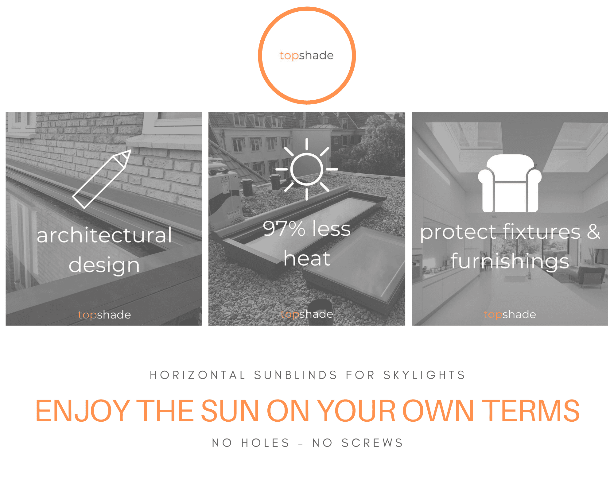 Topshade sunblinds for skylights